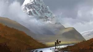 Artwork, Digital, Art, Landscape, Mountain, River, Snowy, Peak, Horse, Men, Field, Hill, Wallpapers