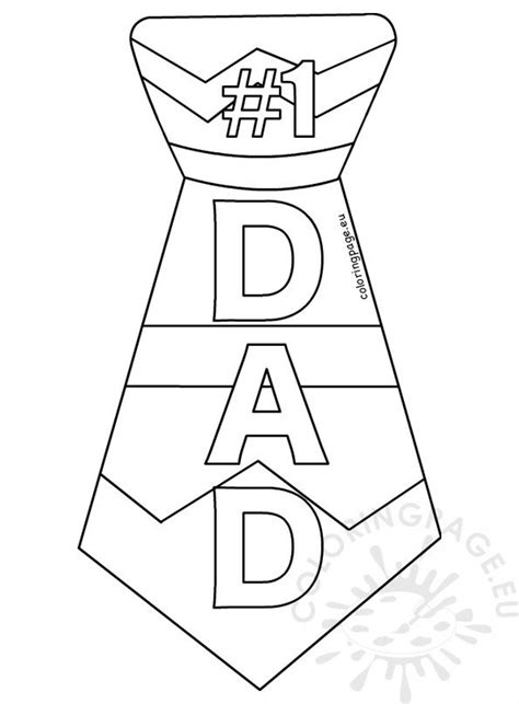 dad tie printable template coloring page