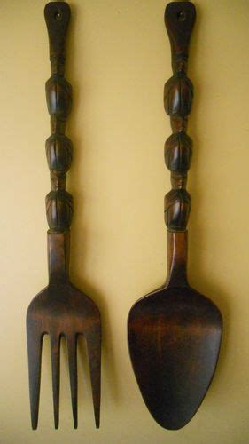 Large Wooden Fork And Spoon Wall Hanging by Wood Wooden Fork And Spoon Wall Hanging Tiki Totem