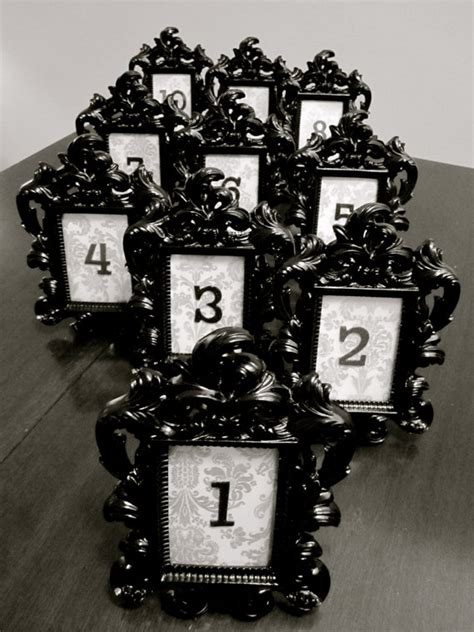 items similar to black baroque damask table numbers with frame black and white wedding