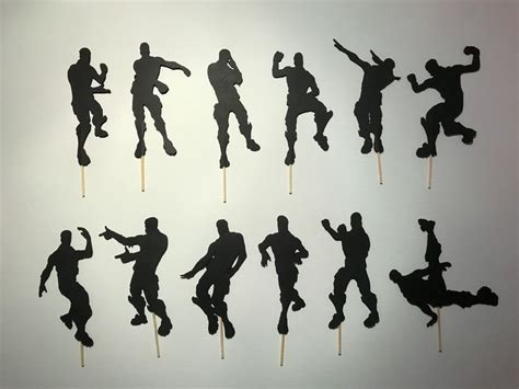 Fortnite Emojis/dance Silhouettes Cupcake Toppers