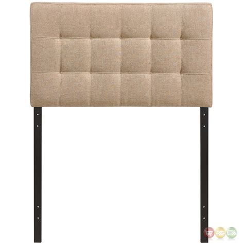 Lily Contemporary Fabric Button Tufted Twin Headboard Beige