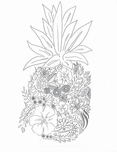 Coloring Pages Adult Printable Pineapple Stress Floral