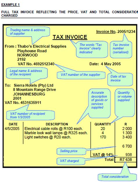 tax invoice template south africa invoice