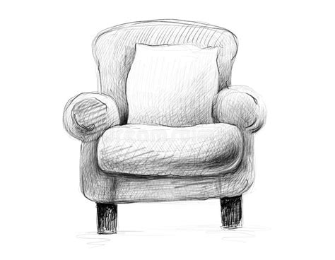 Black And White Sketch Pencil Drawing Of An Armchair With