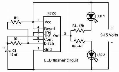Circuit 555 Flasher Led Ne555 Using Timer