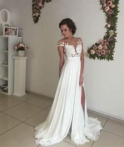 formal dress elegant white prom dressa line chiffon With white elegant wedding dresses