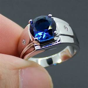 Aliexpress.com : Buy Men's Silver Round Blue Sapphire with ...