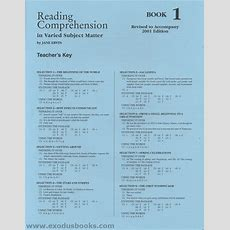 Reading Comprehension In Varied Subject Matter Book 1  Answer Key  Exodus Books