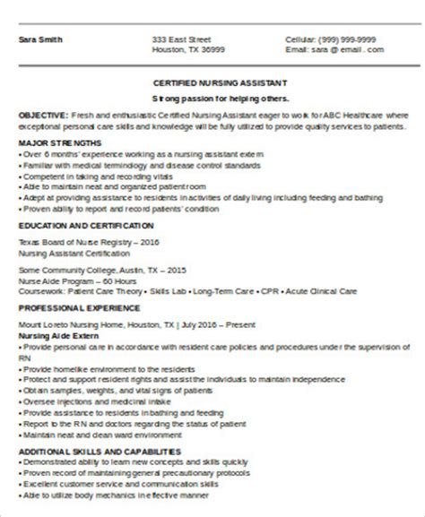 Entry Level Cna Resume Template by Cna Resume Objective 6 Exles In Word Pdf