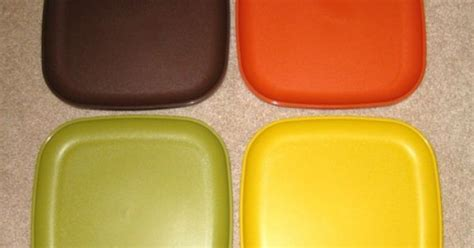 ebay used vintage tupperware 8 quot square plates set of 4 never