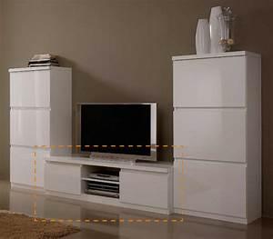 Meuble Tv Blanc Laqué : meuble tv plasma roma laque blanc blanc ~ Teatrodelosmanantiales.com Idées de Décoration
