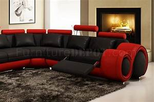 4087 sectional sofa in black red bonded leather by vig With 4087 red with black leather sectional sofa with recliners