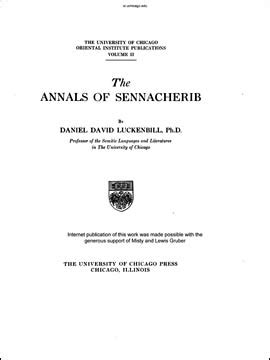 OIP 2. The Annals of Sennacherib | The Oriental Institute