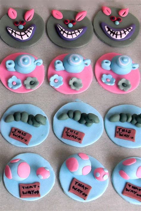 alice  wonderland cupcake toppers kasy cake toppers