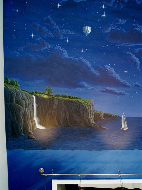 moonlit night mural
