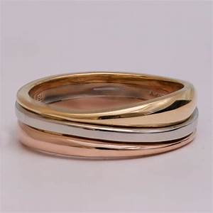 tricolor wedding band unique wedding band wedding ring With men s wave wedding ring