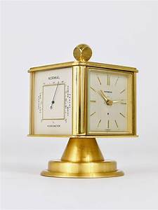 Hollywood, Regency, Brass, Alarm, Desk, Clock, And, Weather, Station, By, Dugena, Germany, At, 1stdibs