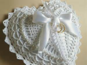 ring pillow wedding white shaped crocheted lace ring bearer pillow