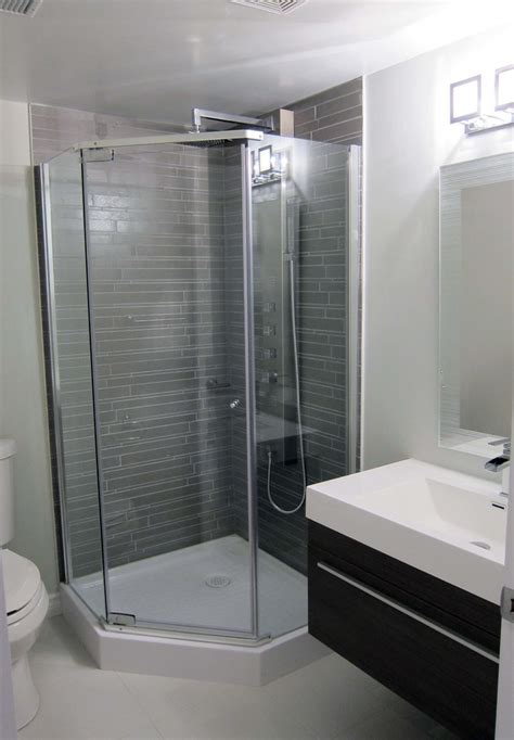 small shower stalls bathroom contemporary  basement