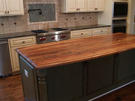 kitchen island with butcher block top spalted pecan wood countertop photo gallery by devos 9426
