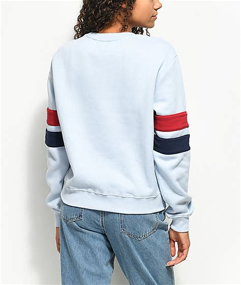 light blue crew neck sweatshirt fila newton light blue crew neck sweatshirt zumiez