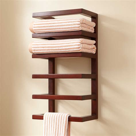 mahogany hanging towel rack towel holders bathroom