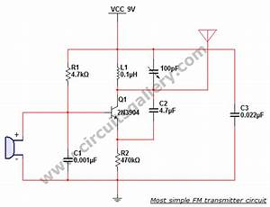 Most Simple Fm Transmitter Circuit Diagram Circuits