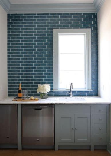 blue subway tile kitchen blue subway tile with gray cabinets carrara white granite 4841