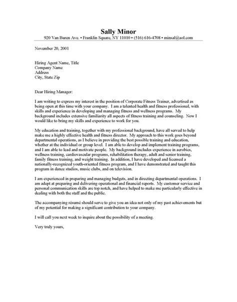 sle cover letter cover letter exles nutrition