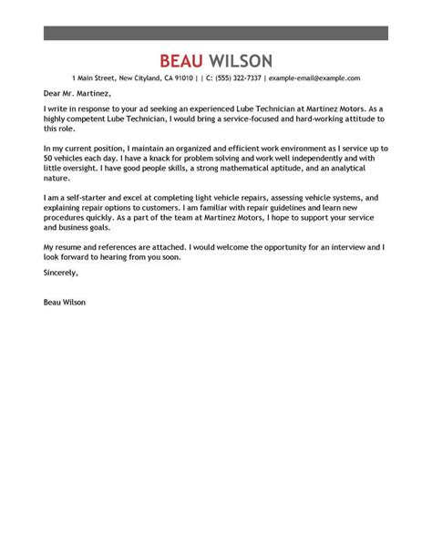 Cover Letter For Car Dealership by Lube Technician Cover Letter Exles Livecareer