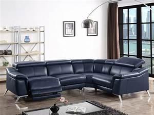 canape angle relax electrique en cuir katie 3 coloris With tapis design avec canapé d angle cuir electrique