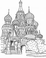 Coloring Cathedral Moscow Basils St Saint Pages Basil Russia Colouring Coloringpagesfortoddlers Printable Sheets Disimpan Dari sketch template