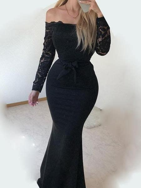 New Black Patchwork Lace Bow Off Shoulder Long Sleeve ...