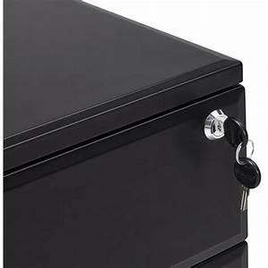 Caisson Bureau Noir : caisson de bureau design 3 tiroirs mathias en m tal noir ~ Teatrodelosmanantiales.com Idées de Décoration