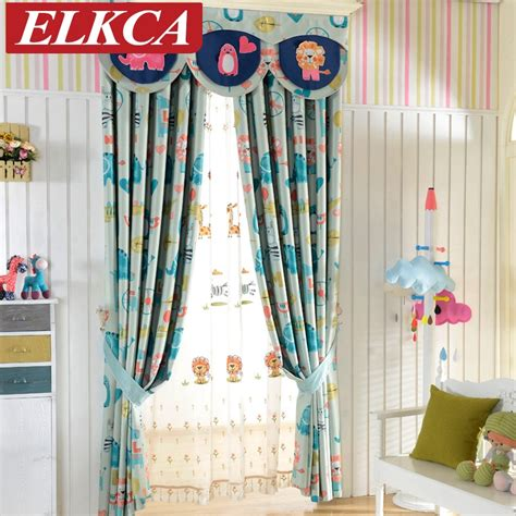 double sided cartoon printed blackout curtains  kids room elephant horse printed window