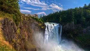 1920x1080, Wallpaper, Waterfall, Flowing, Rocks, Hill