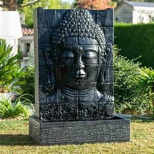 Statue Deco Jardin Exterieur : mur d 39 eau avec bassin visage de bouddha noir h 1 m 50 ~ Teatrodelosmanantiales.com Idées de Décoration