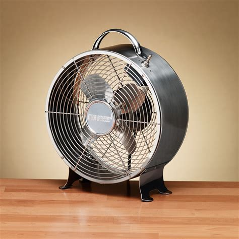 deco breeze colored retro metal table fan stainless