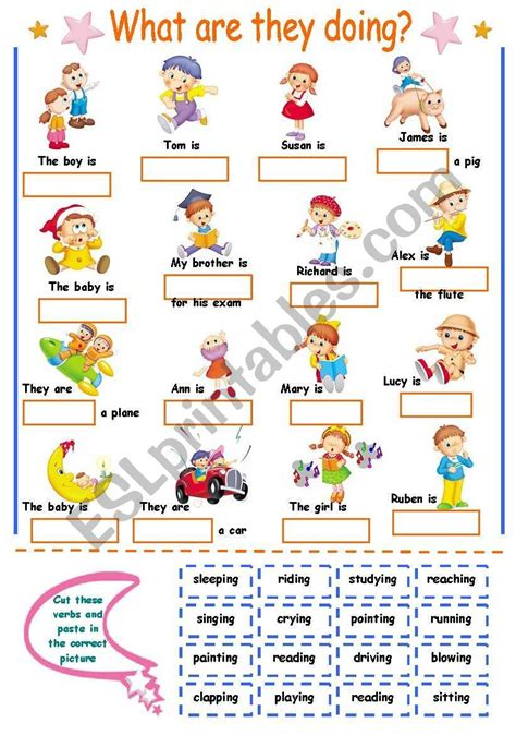 verb ing worksheet  kids schematic  wiring diagram
