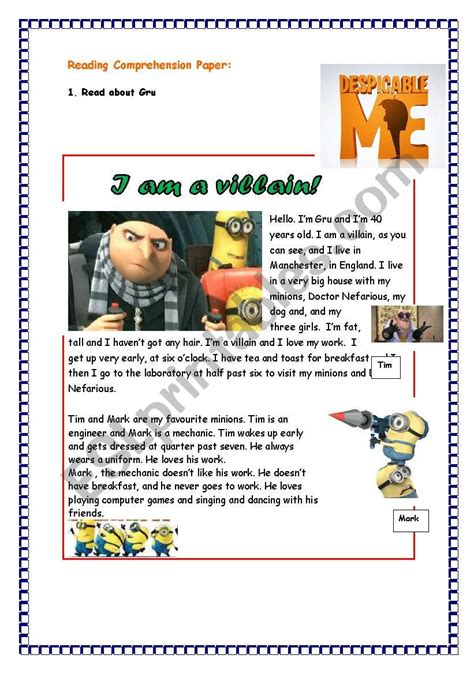 English Worksheets Reading Comprehension About Despicable Me Part 1