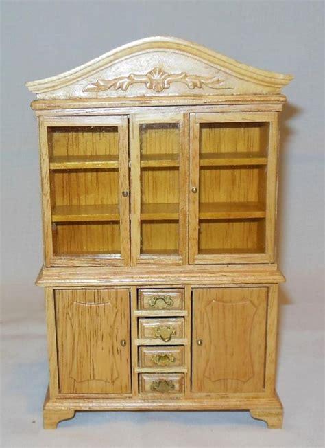 victorian oak china cabinet miniature dollhouse furniture