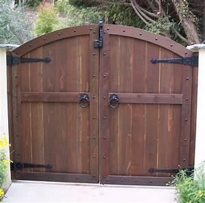Wood Gates - Arched - Yard - Custom Redwood - See-Through