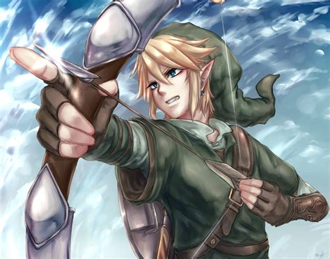 Blonde Hair Blue Eyes Bow Weapon Gloves Hat Link Zelda