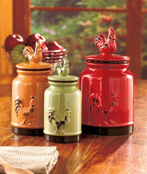 Set Of 3 Rooster Canisters Country Kitchen Accent Home