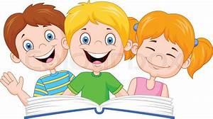 Vector illustration of Cartoon kids reading book | Stock ...