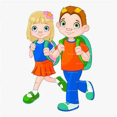 Clipart Walking Going Transparent Student Child Clip