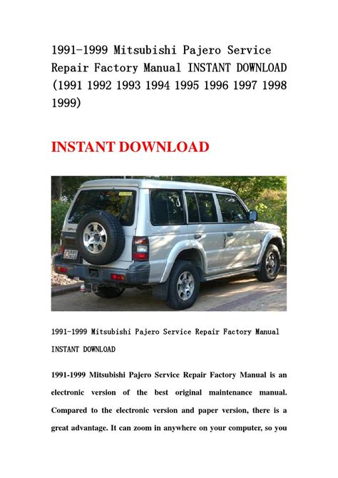 how to download repair manuals 1991 mitsubishi pajero electronic toll collection 1991 1999 mitsubishi pajero service repair factory manual instant download 1991 1992 1993 1994