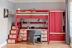Bureau Chambre Ado Fille : chambre d 39 ado contemporain chambre paris par espace loggia ~ Dallasstarsshop.com Idées de Décoration