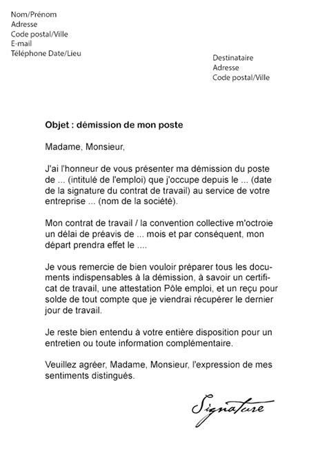 modele de lettre de demission cdd lettre de d 233 mission cdi avec pr 233 avis mod 232 le de lettre